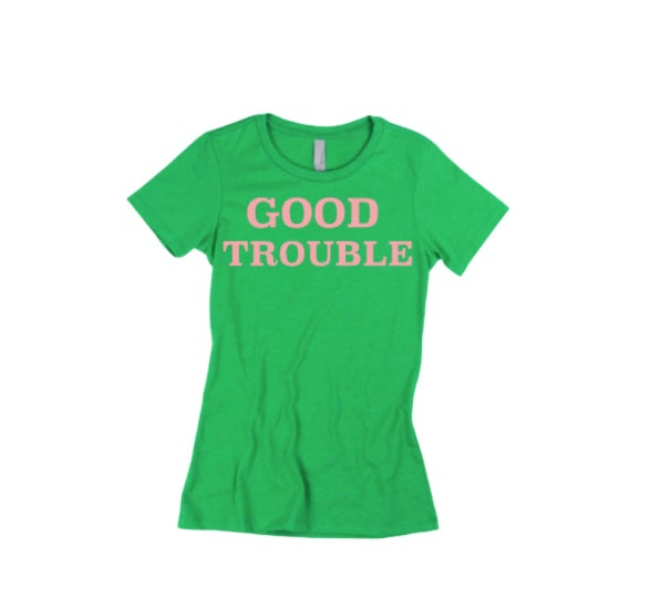 "Green/Pink ""Good Trouble"" Tee"