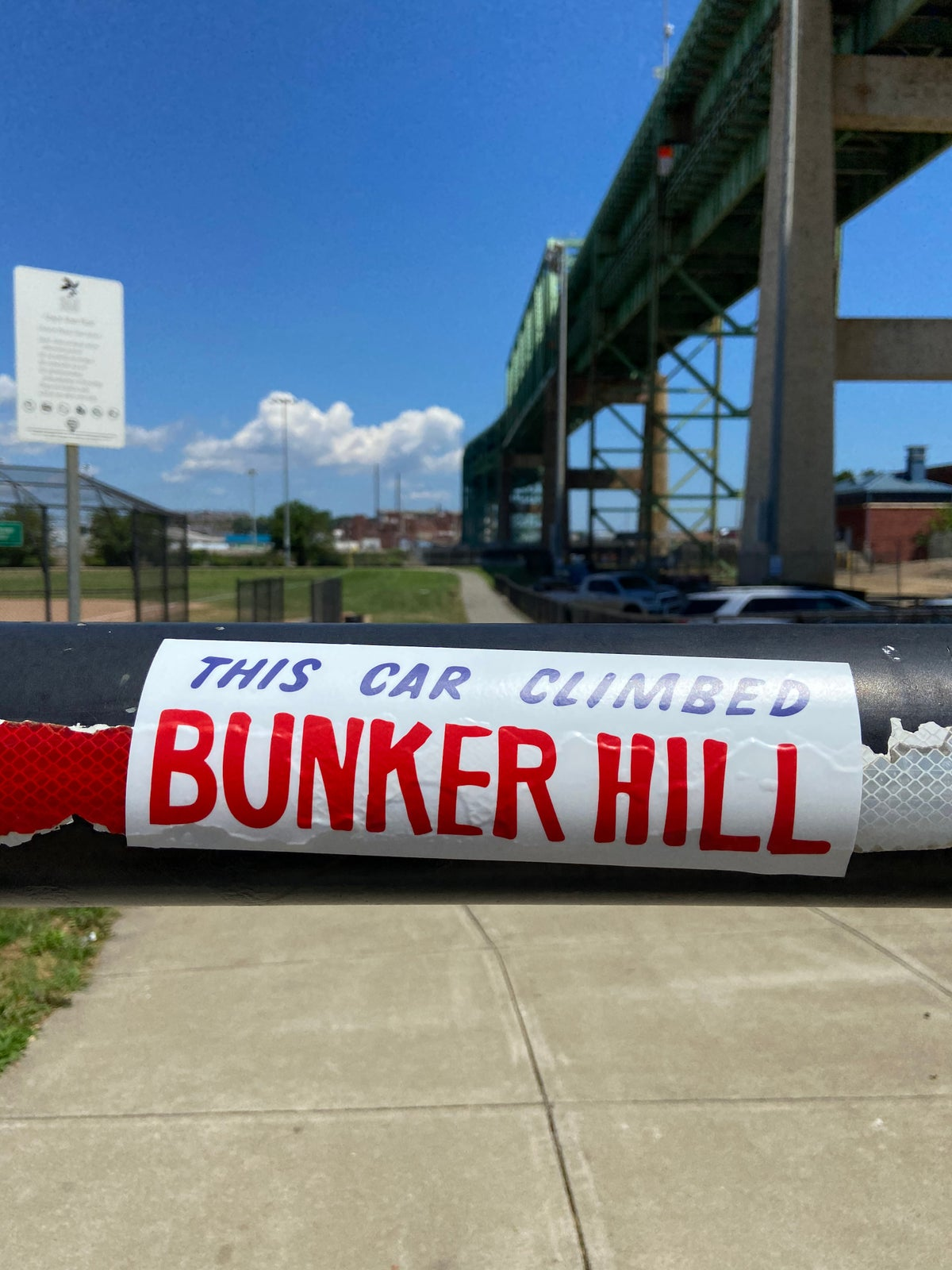 Image of This Car Climbed Bunker Hill bumper sticker