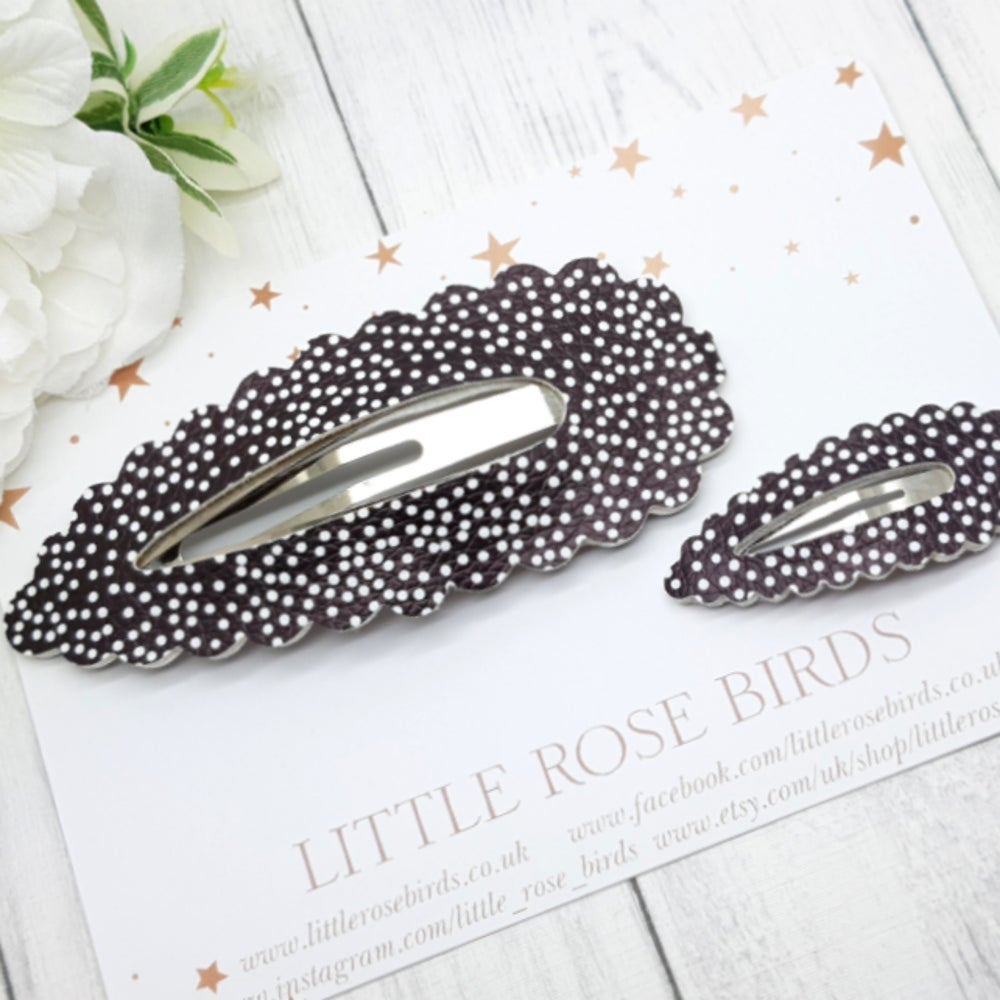 Image of Mummy & Me Black Dotty Matching Snap Clip Set