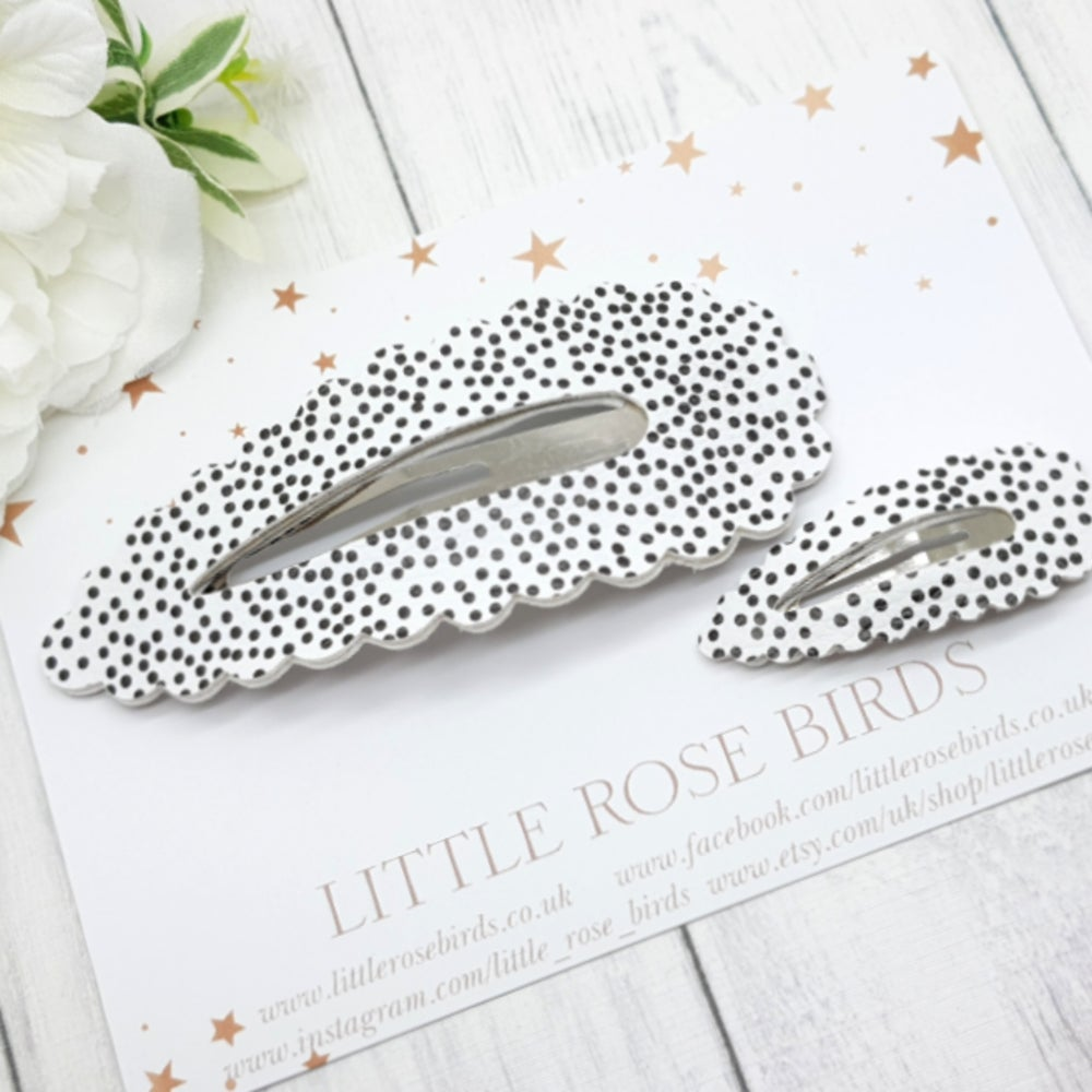 Image of Mummy & Me White Dotty Matching Snap Clip Set