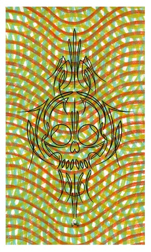Image of PINSTRIPE SKULL pastel original