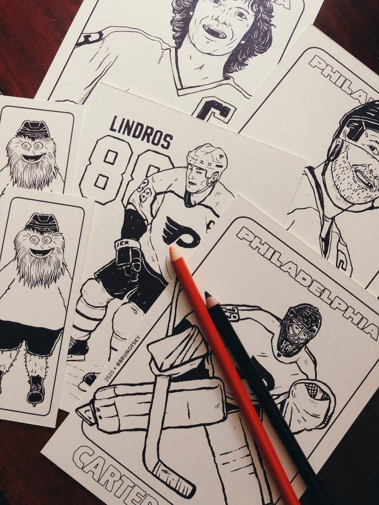 Image of Philly Hockey Coloring Cards