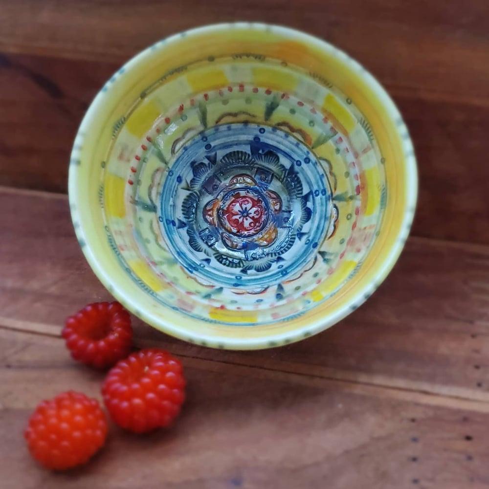 Image of Yellow and Turquoise Mandala Tiny Bowl