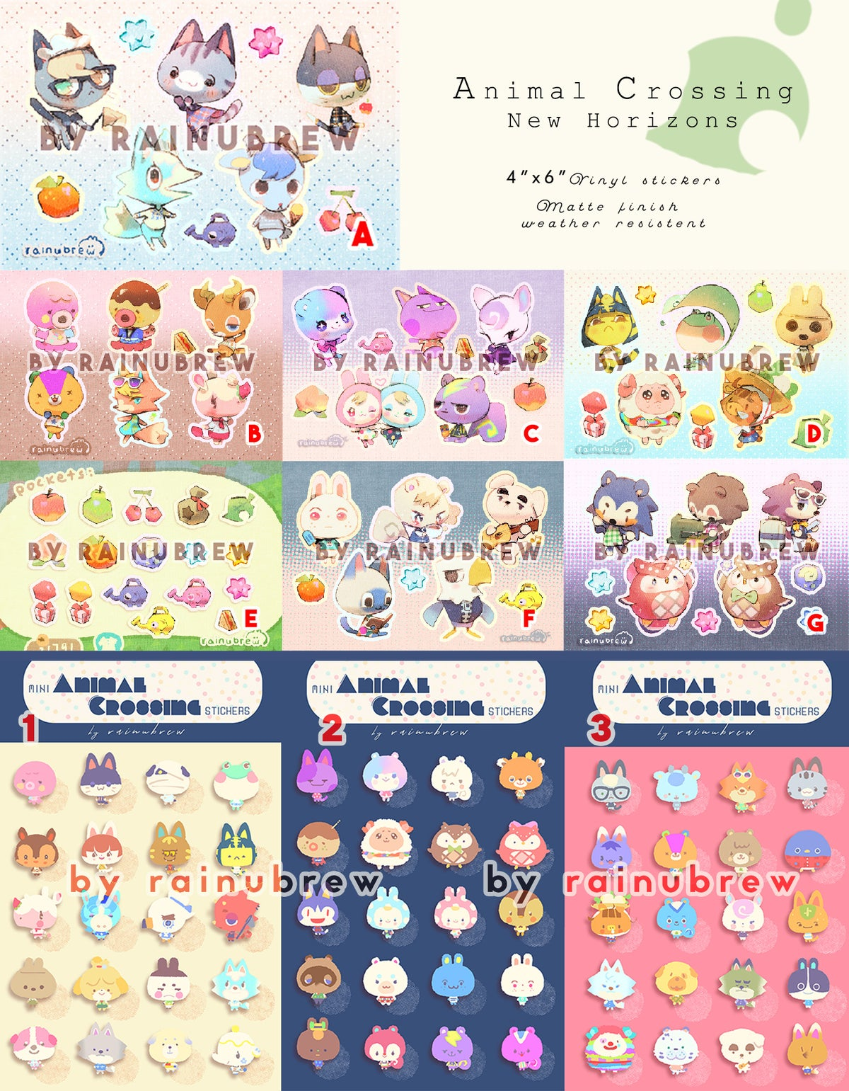 Image of Anime Crossing New Horizon - 6x4 inch sticker sheets [PRE ORDER]