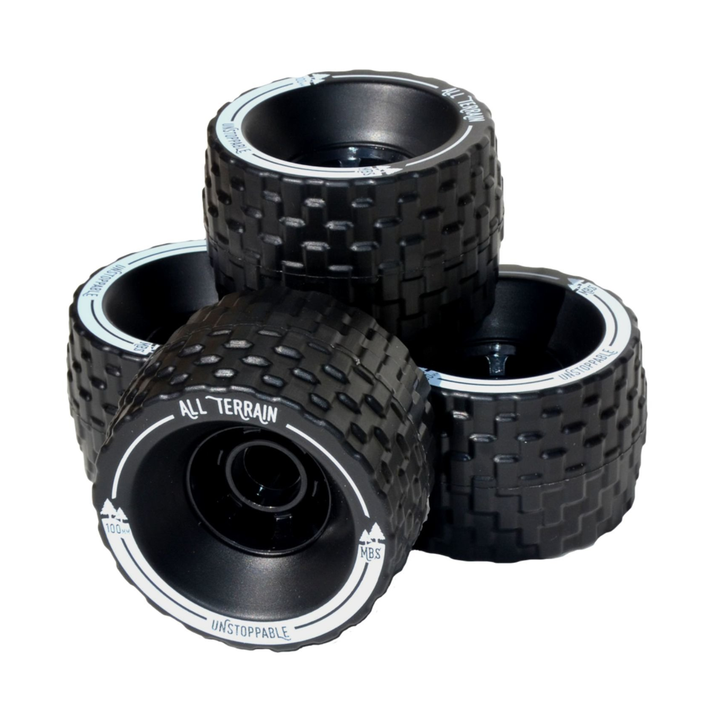 Image of MBS All-Terrain Skateboard Wheels - Black (4)