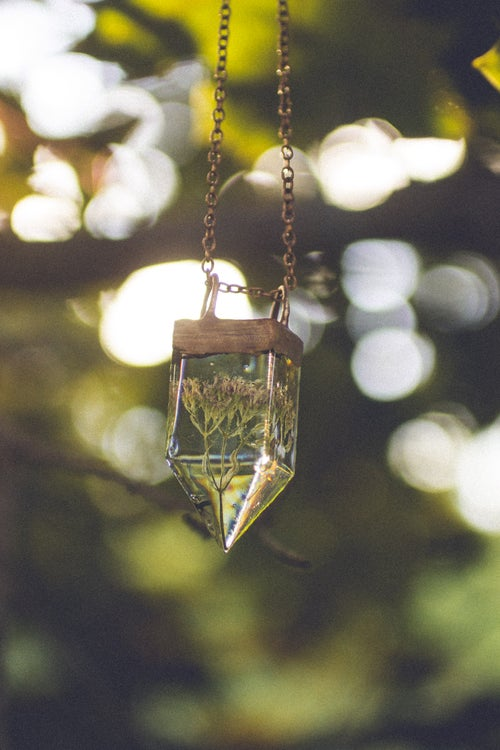 Image of Valerian (Valeriana officinalis) - Small Copper Prism Necklace #1