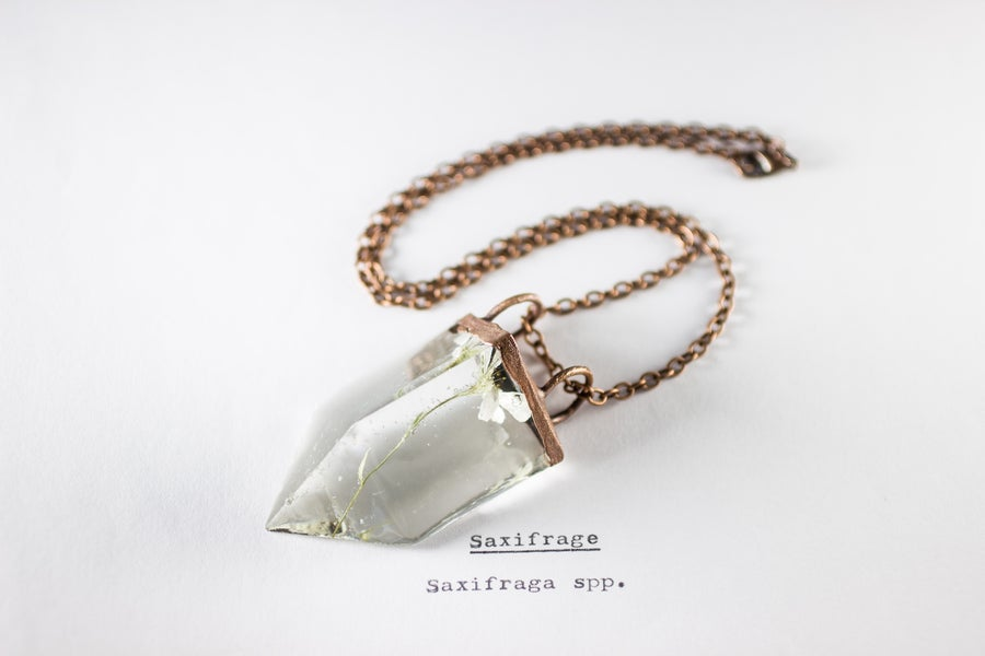 Image of Saxifrage (Saxifraga) - Small Copper Prism Necklace #2