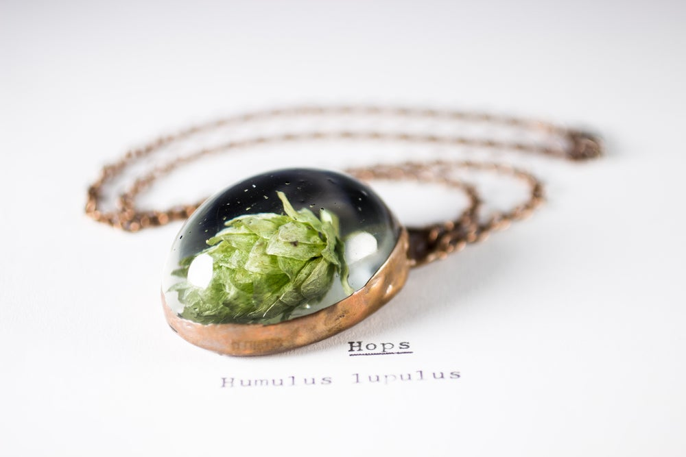 Image of Hops (Humulus lupulus) - Copper Plated Necklace #2