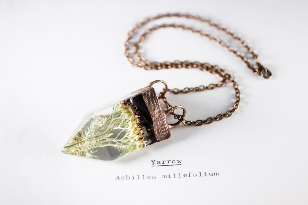 Image of Yarrow (Achillea millefolium) - Small Copper Prism Necklace #1