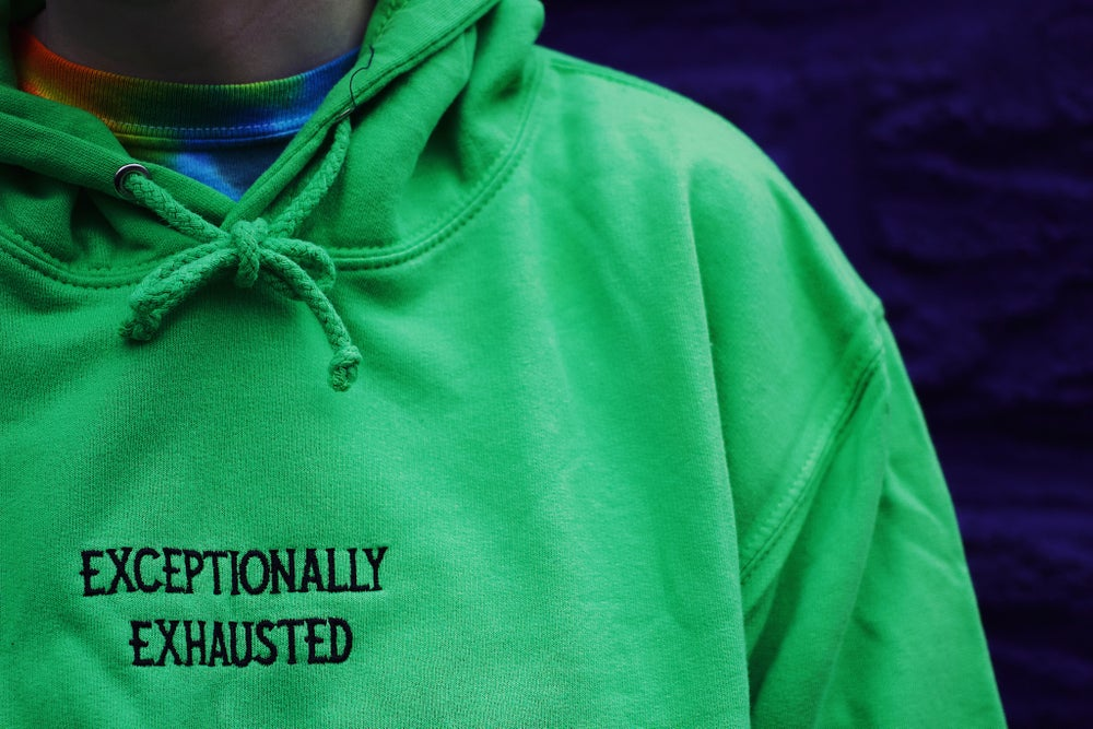 EXCEPTIONALLY EXHAUSTED HOODIE (black, green or pink)