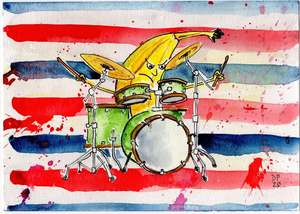 "Image of ""Banana Drummer Framed Print"" by Dan P."