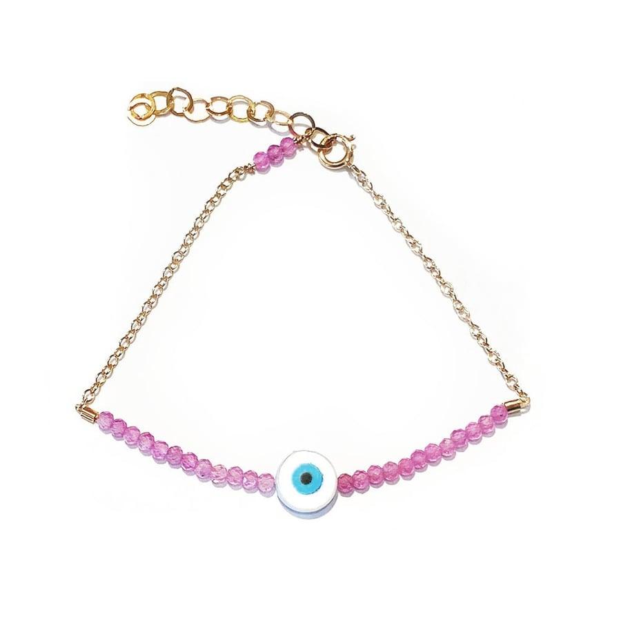 Image of Eye Bracelet Half Beaded Strawberry Quartz with Chain