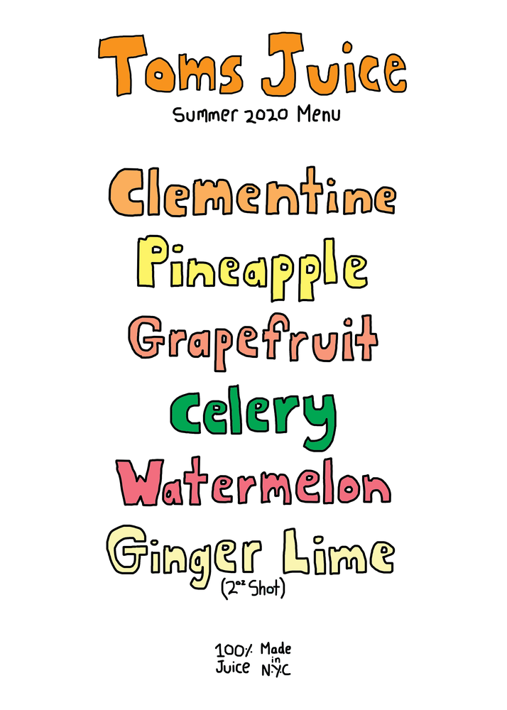 Image of Summer Menu 2020