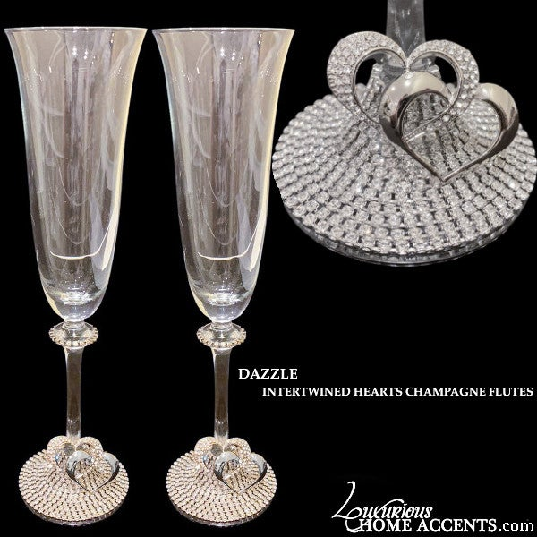 Image of Swarovski Crystal Intertwined Hearts Champagne Flutes