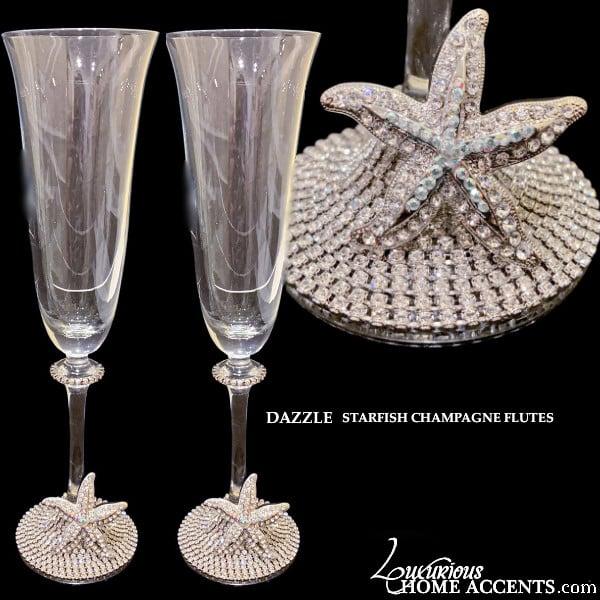 Image of Swarovski Crystal Starfish Champagne Flutes