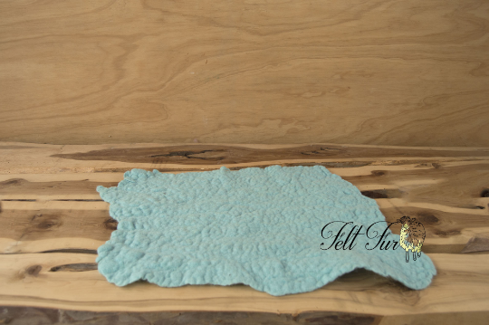 Image of Newborn Prop Set of 4  Felted Layers  (SET 49).  Light Blue, Lilac, Sea foam and Sky. Ready to Ship.