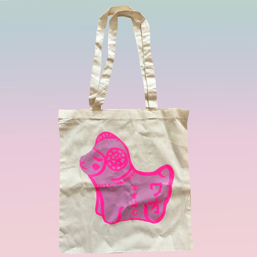 Image of PINK SHEEP - SCREEN PRINTED TOTE BAGS