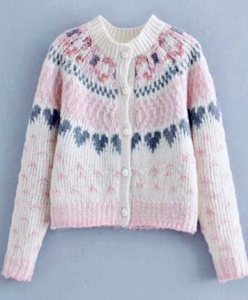 Image of Pink pattern and grey heart cardi SMALL