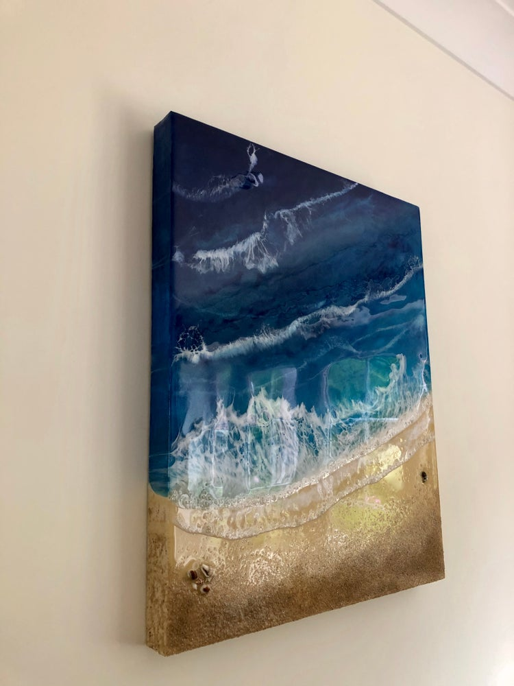 "Image of 20"" x 16"" Ocean/Beach resin painting"