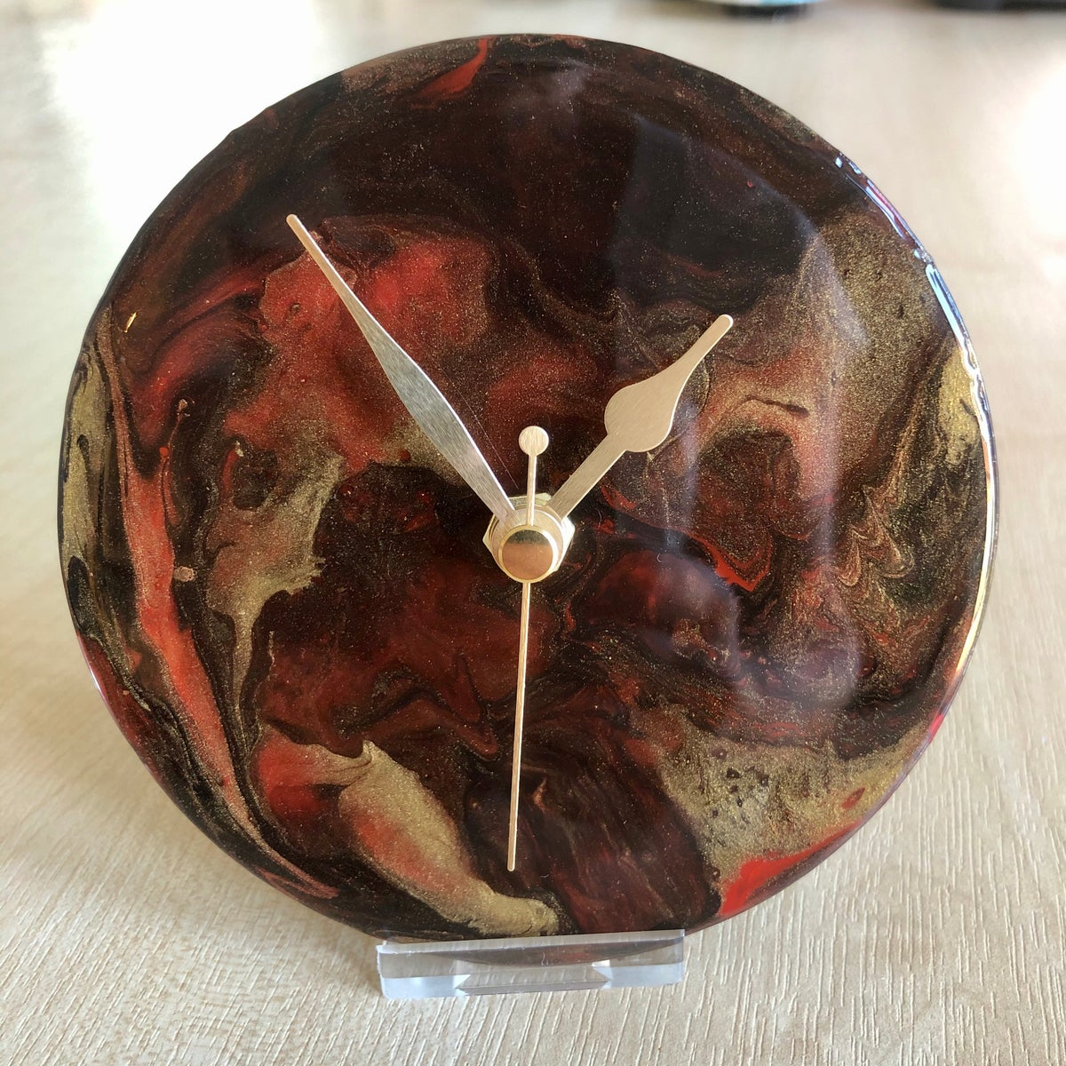 Image of Abstract CDshelf clocks with stand.