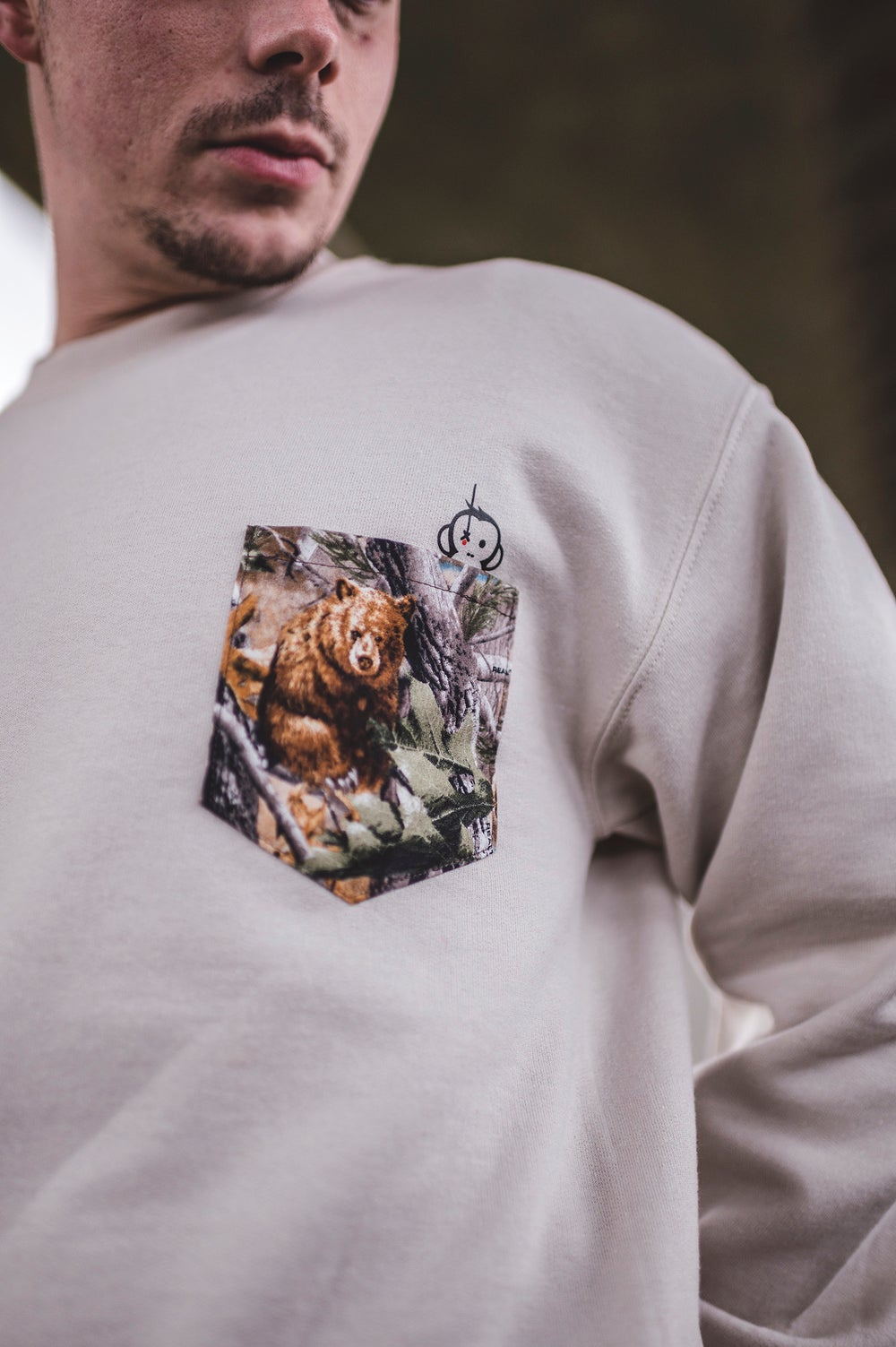 Image of Monkey Climber Lazy Bear pocket crew I Sand (other colours possible too)