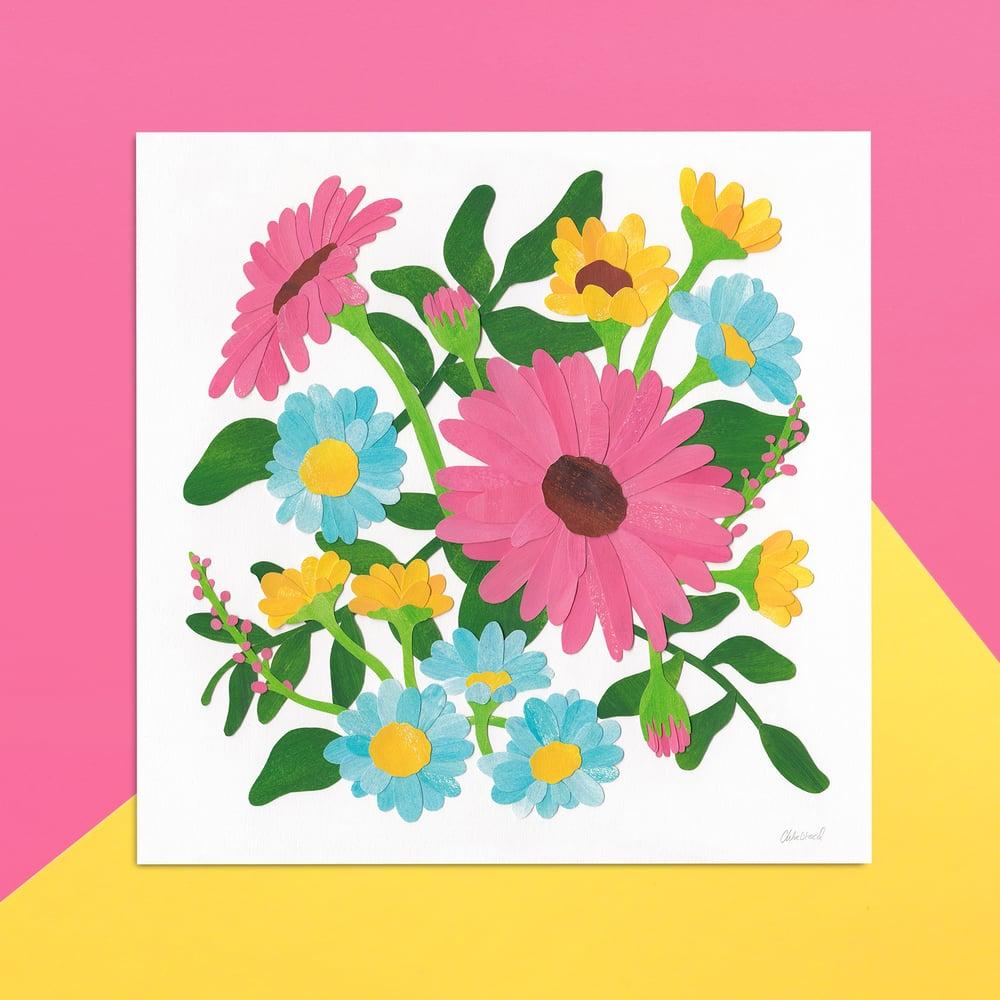 Flowers In Bloom - 21cm Square Print