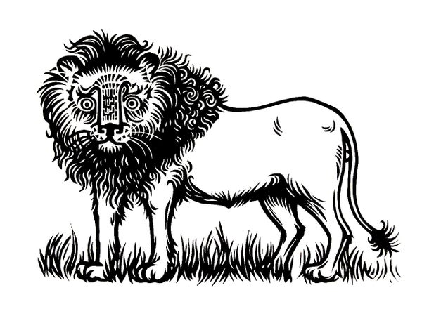 Image of Lion - original linocut print