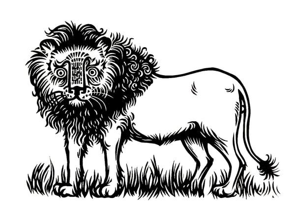 Image of Lion - original linocut print