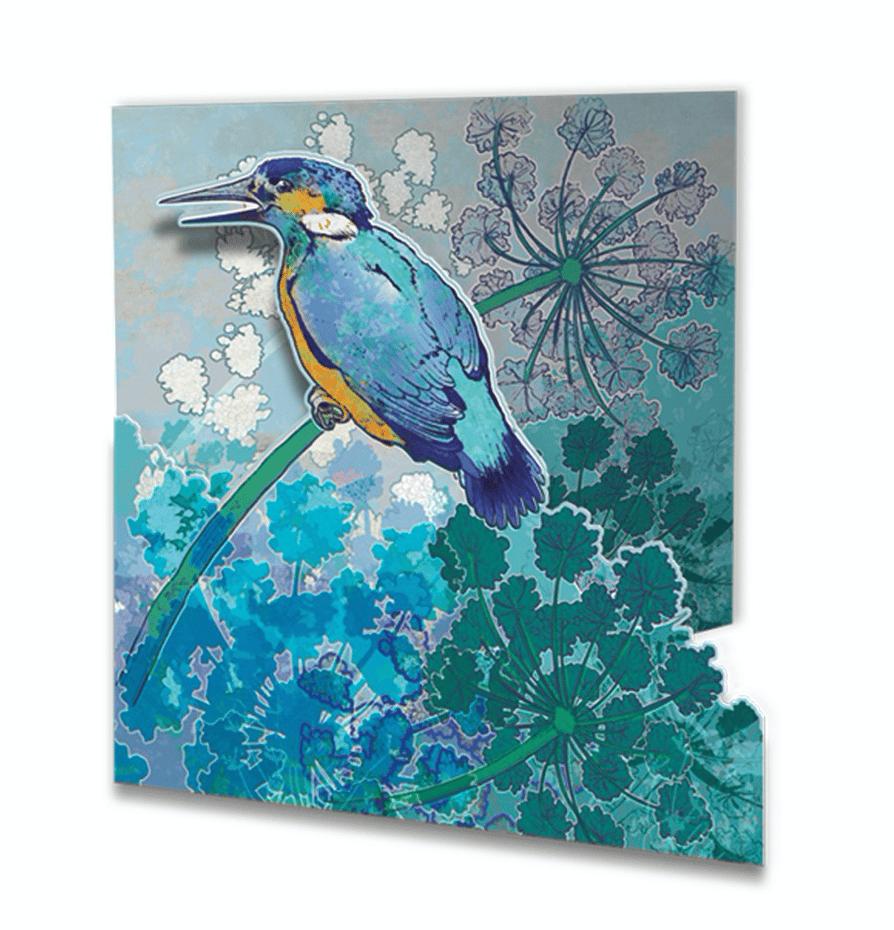 Image of Die-cut Greetings Card - Kingfisher