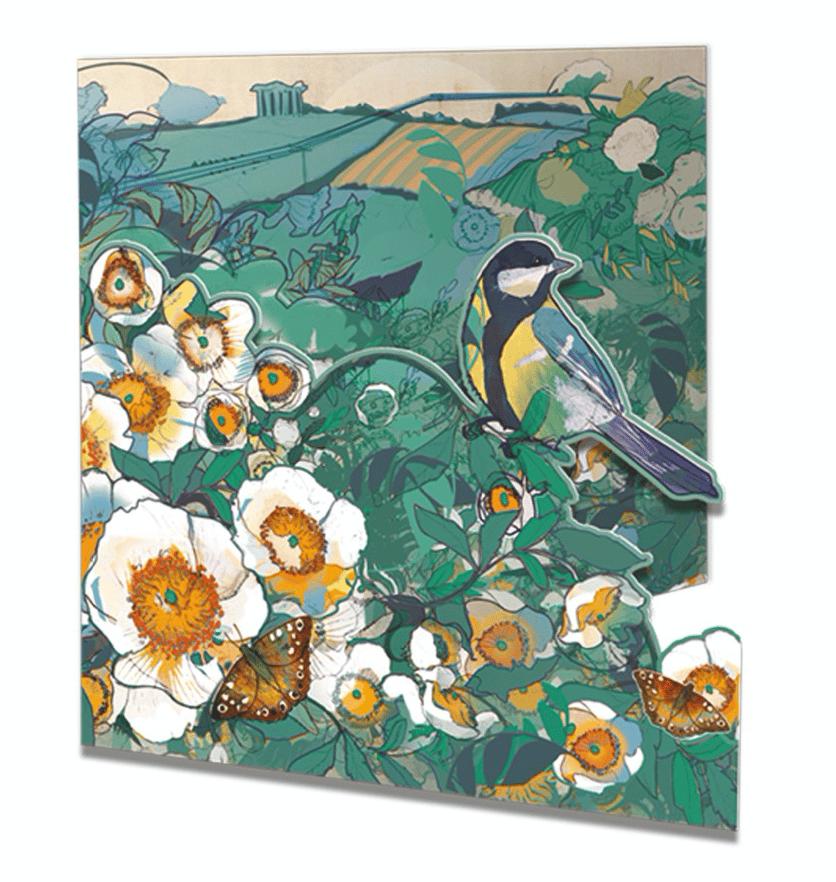 Image of Die-cut Greetings Card - Wild roses