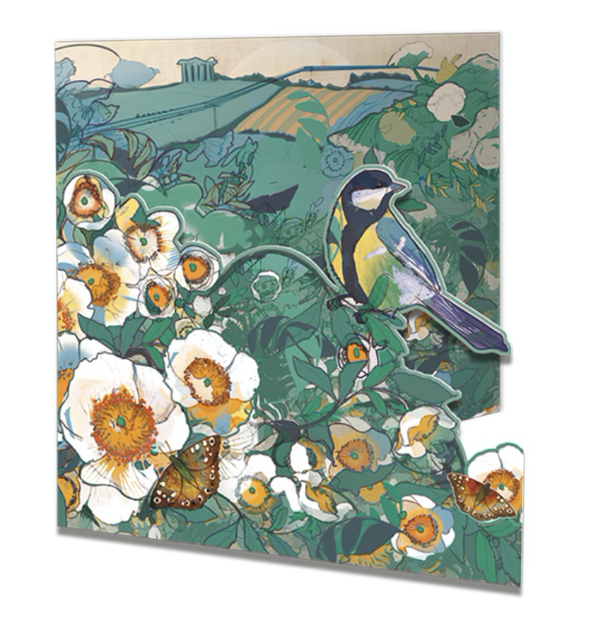 Image of Die-cut Greetings Card - Wild roses