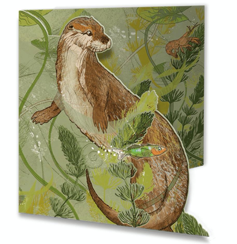 Image of Die-cut Greetings Card - Otter Encounter
