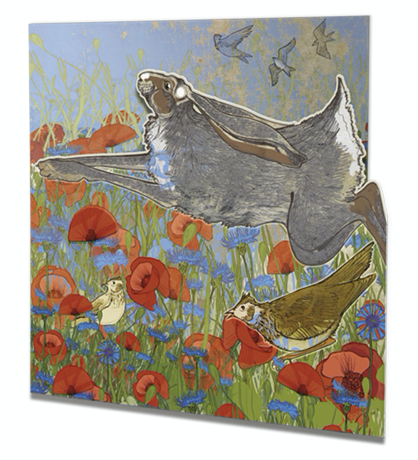Image of Meadow Hare - Die-cut Greetings card