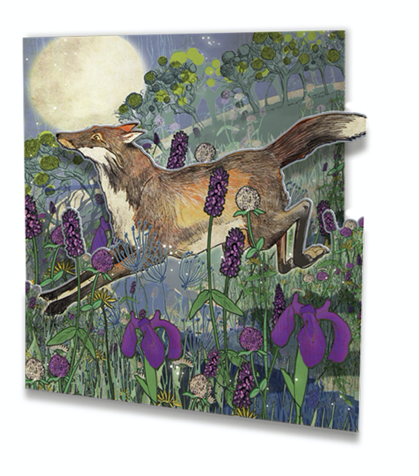 Image of Die cut Greetings Card - Night Fox