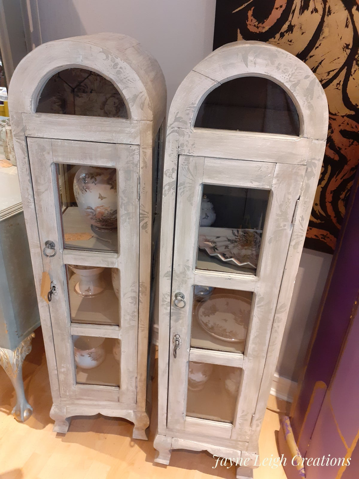 Image of French Shabby Display Cabinets