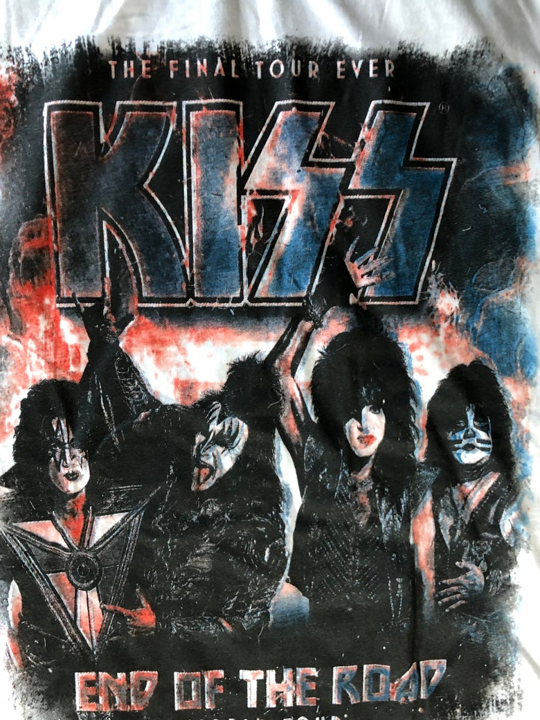 Image of KISS End Of The Road Tour 3/4 Sleeve Style Jersey Gene Simmons Paul Stanley Med.