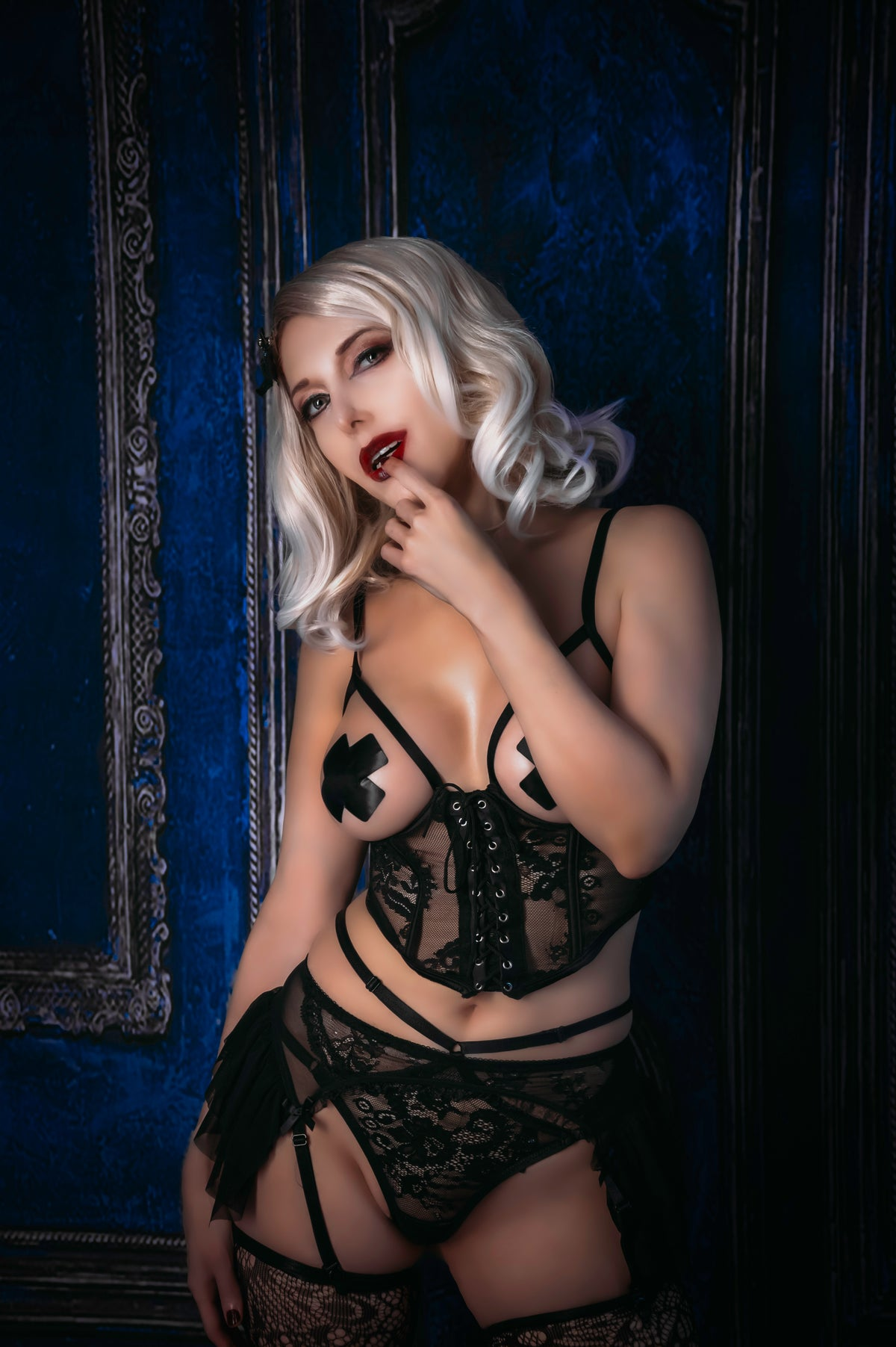 Image of Black Lace Bombshell shoot with implied