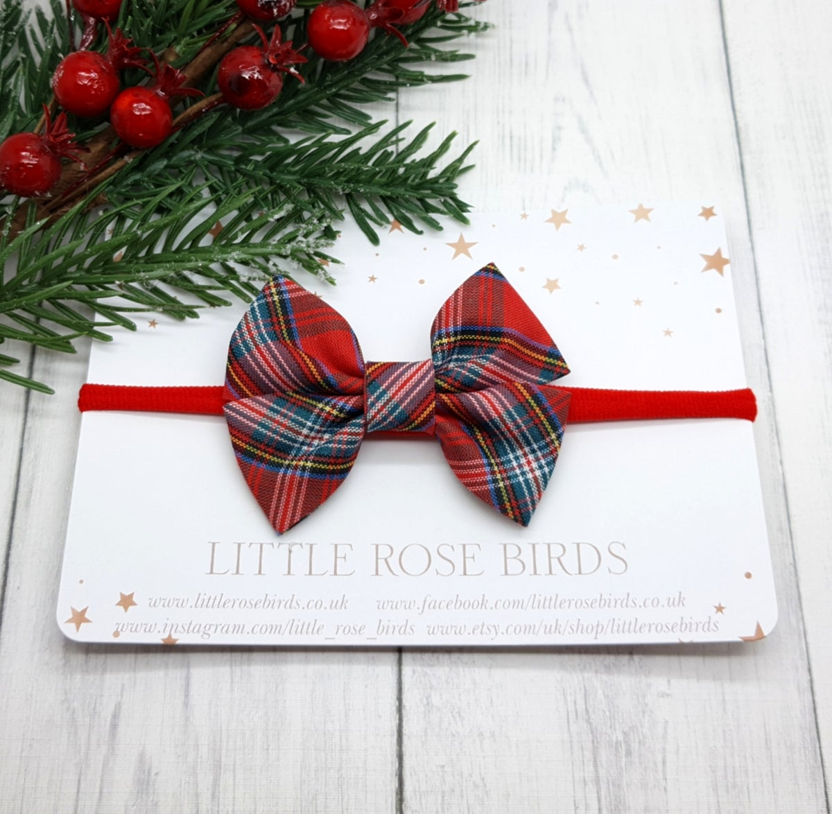 Image of Red Tartan Cotton Pinch Bow  - Choice of Headband or Clip
