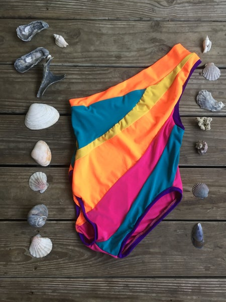 Image of Citrus & Berries Multi One Shoulder Swim Suit