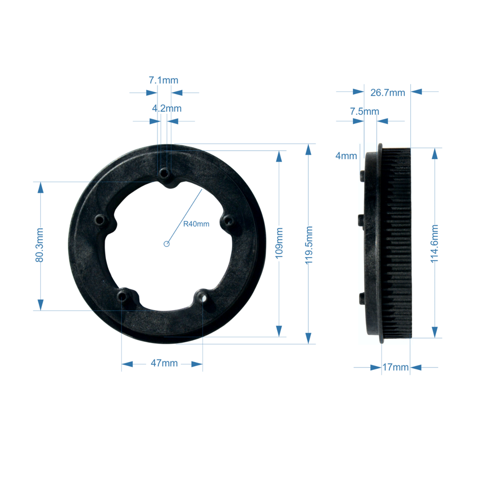 Image of MBS Wheel Pulley - HTD 5M - 72T - (1)