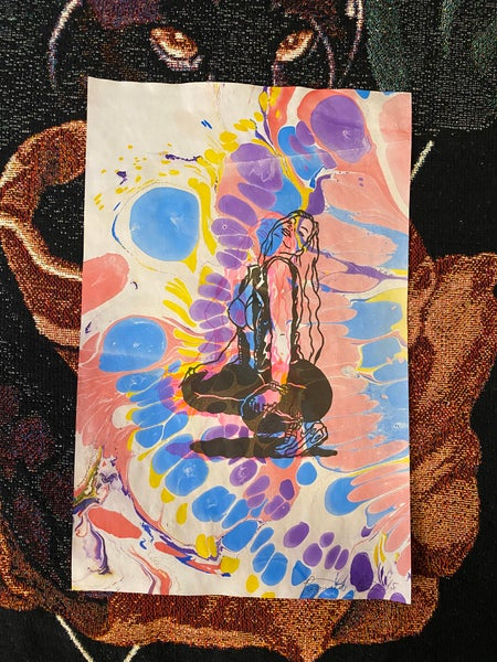 Image of Leather Heather marbled riso print