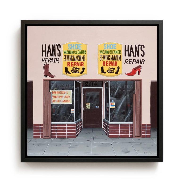 """Image of """"Han's Shoe Repair"""" Original Painting"""