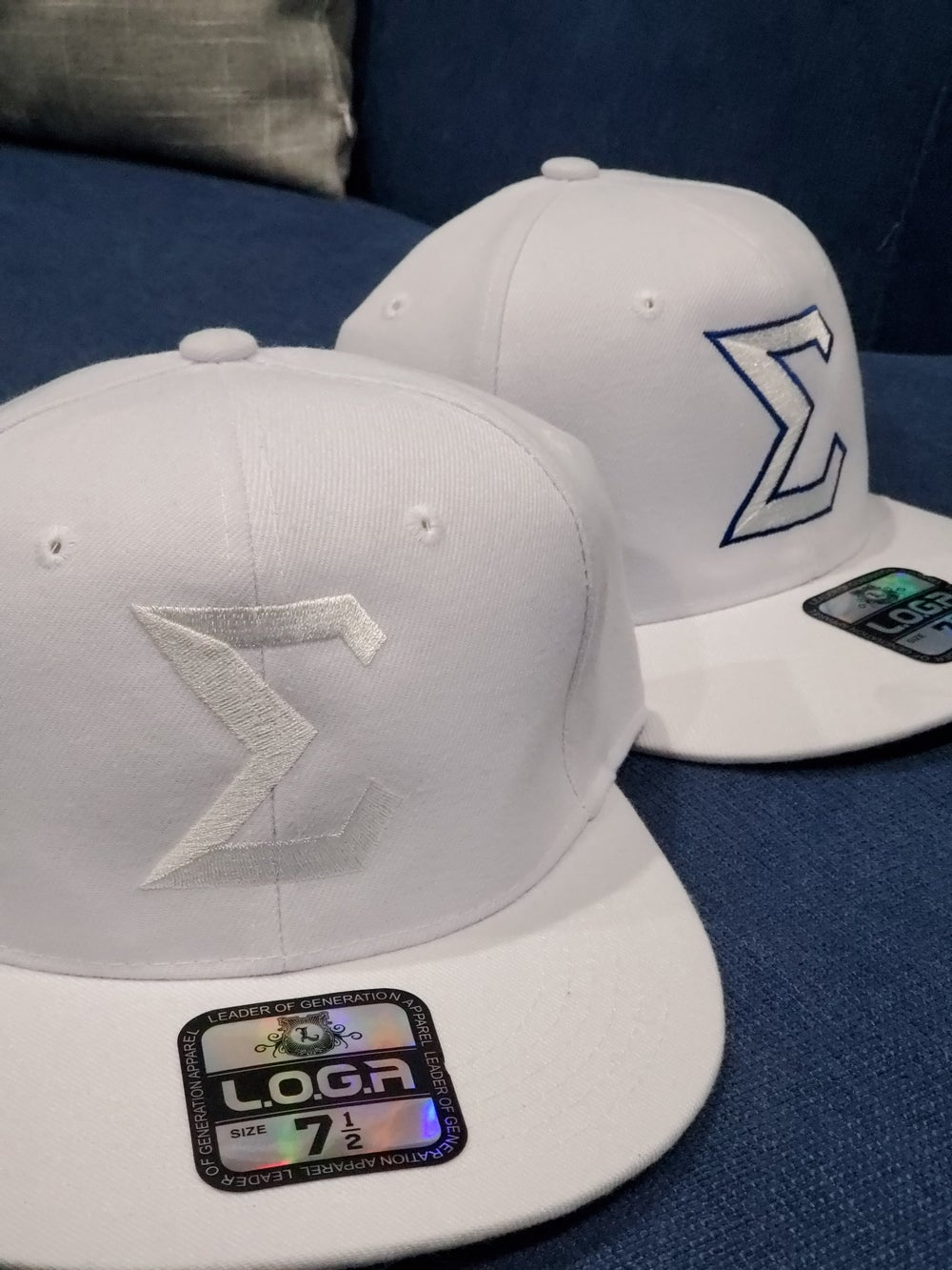 All-White Sigma Fitted Baseball Caps