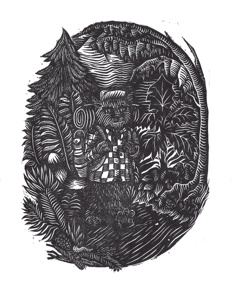 Image of Hiking Cat Woodcut