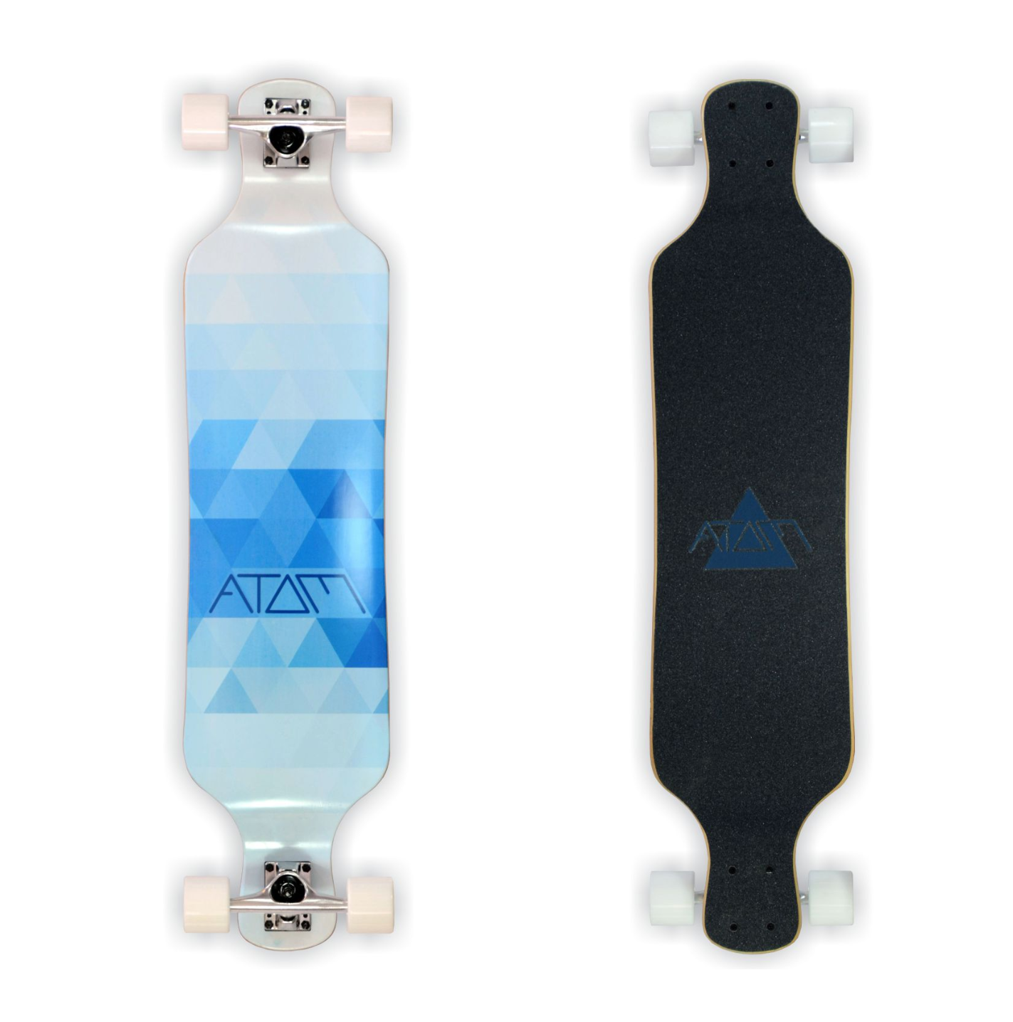 Image of Atom Drop Deck Longboard - 39 Inch (Blue Triangles)