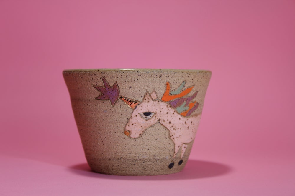 Image of Majestic Unicorn with Golden Horn Pot