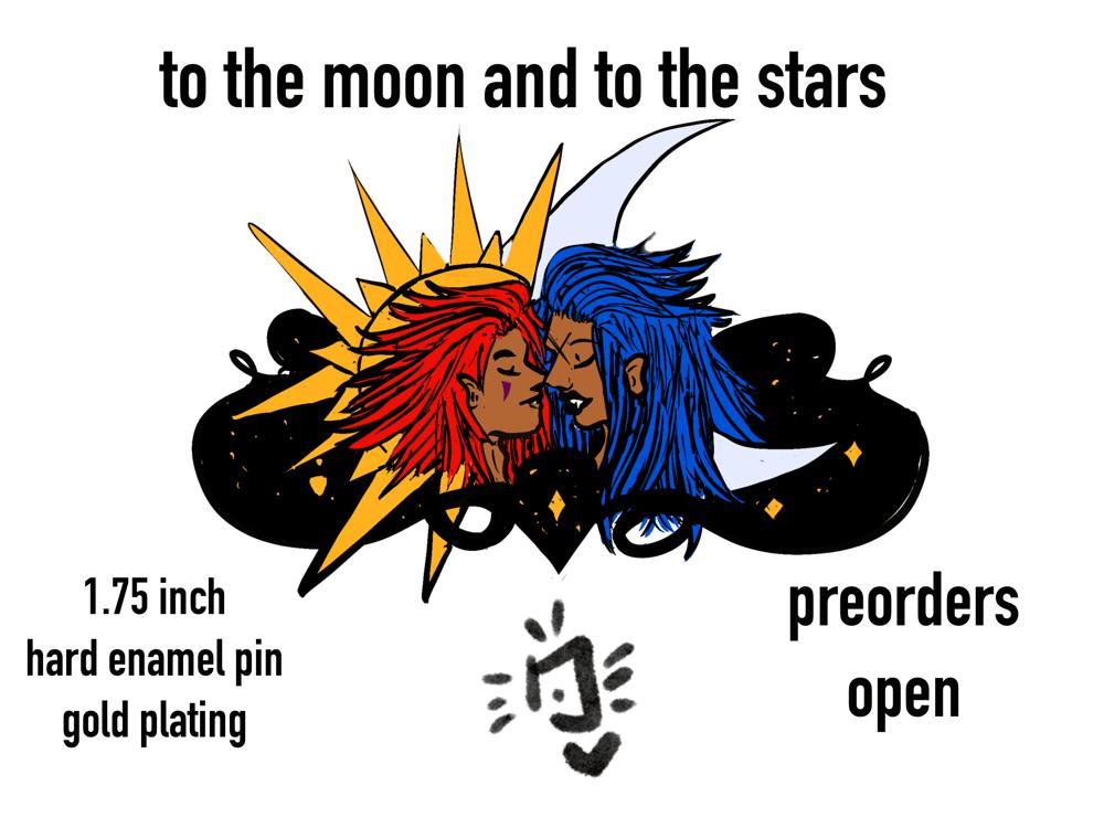 Image of to the moon + stars (kingdom hearts) enamel pin PREORDER