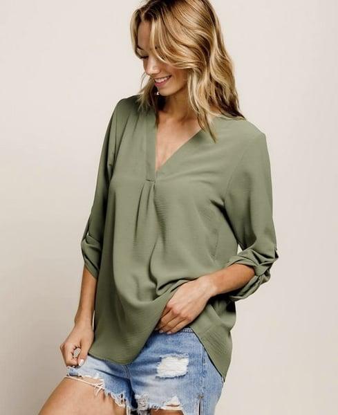 Image of Vneck Roll-Sleeve Top, olive