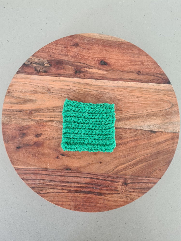 Image of Green Recycled Cotton coasters. Pack of 4.