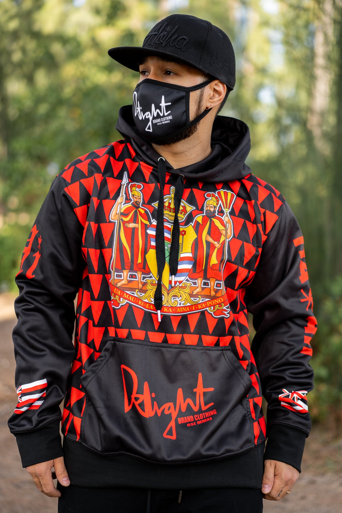Delight Coat of Arms Black/Red Hoodie